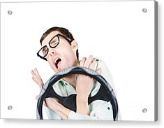 Accident Prone Man In Car Crash Impact Acrylic Print by Jorgo Photography - Wall Art Gallery