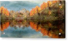 Accross The Lake In Autumn Acrylic Print by Tom Mc Nemar