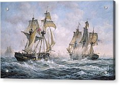 Action Between U.s. Sloop-of-war 'wasp' And H.m. Brig-of-war 'frolic' Acrylic Print by Richard Willis