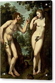 Adam And Eve Acrylic Print by Peter Paul Rubens