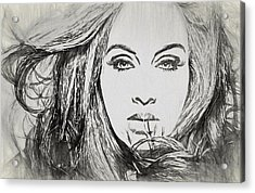 Adele Charcoal Sketch Acrylic Print by Dan Sproul