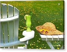 Adirondack Chair On The Grass  Acrylic Print by Sandra Cunningham