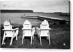 Adirondack Chairs And Water View At Ephriam Acrylic Print by Stephen Mack
