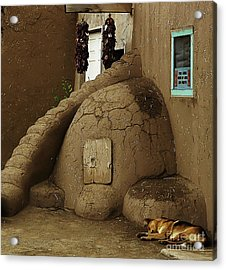 Adobe Oven Acrylic Print by Angela Wright