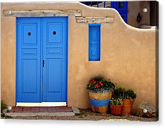 Adobe Walls With Blue Doors Ranchos De Taos New Mexico Acrylic Print by George Oze