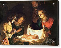 Adoration Of The Baby Acrylic Print by Gerrit van Honthorst