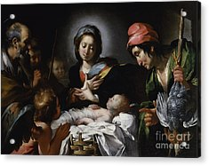 Adoration Of The Shepherds Acrylic Print by Bernardo Strozzi