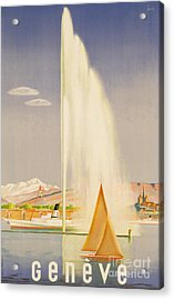 Advertisement For Travel To Geneva Acrylic Print by Fehr