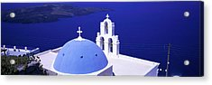 Aegean Sea Firostefani Santorini Greece Acrylic Print by Panoramic Images