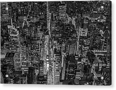 Aerial New York City 42nd Street Bw Acrylic Print by Susan Candelario