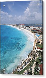 Aerial Of Cancun Acrylic Print by Bill Bachmann - Printscapes