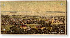 Aerial View Of Berkeley California In 1900 On Worn Distressed Canvas Acrylic Print by Design Turnpike