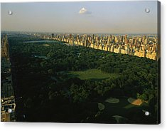 Aerial View Of Central Park, An Oasis Acrylic Print by Melissa Farlow