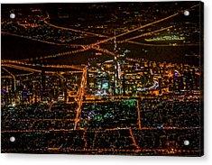 Aerial View Of Dubai City At Night Acrylic Print by Art Spectrum