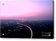 Aerial View Of Highway At Dusk Acrylic Print by Yali Shi