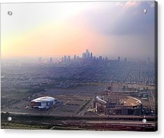 Aerial View - Philadelphia's Stadiums With Cityscape  Acrylic Print by Bill Cannon