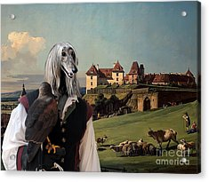 Afghan Hound-falconer And Castle Canvas Fine Art Print Acrylic Print by Sandra Sij