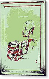African Boy Blue Acrylic Print by Sheri Parris