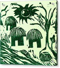 African Huts Acrylic Print by Caroline Street