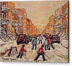 After School Hockey Game Acrylic Print by Carole Spandau
