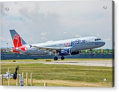 Airbus A320 Boston Strong Acrylic Print by Guy Whiteley