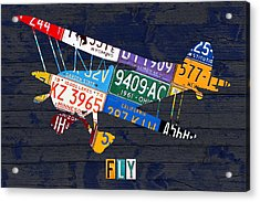 Airplane Vintage Biplane Silhouette Shape Recycled License Plate Art On Blue Barn Wood Acrylic Print by Design Turnpike