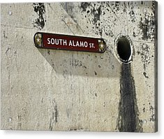 Alamo Riverwalk Sign Large Edition Acrylic Print by Tony Grider