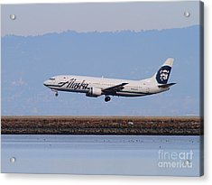 Alaska Airlines Jet Airplane At San Francisco International Airport Sfo . 7d12232 Acrylic Print by Wingsdomain Art and Photography