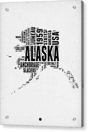 Alaska Word Cloud 2 Acrylic Print by Naxart Studio