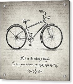 Albert Einstein Bicycle Quote Acrylic Print by Taylan Soyturk