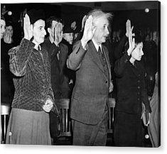 Albert Einstein Taking His Oath Acrylic Print by Everett