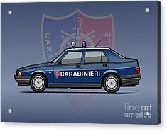 Alfa Romeo 75 Tipo 161, 162b Milano Carabinieri Italian Police Car Acrylic Print by Monkey Crisis On Mars