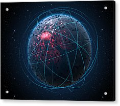 Alien Planet With Illuminated Network And Light Trails Acrylic Print by Allan Swart