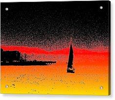 Alki Sail  Acrylic Print by Tim Allen