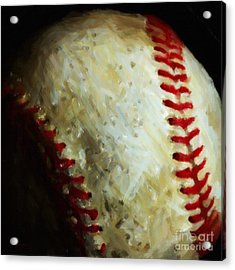 All American Pastime - Baseball - Square - Painterly Acrylic Print by Wingsdomain Art and Photography