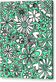 All Over Floral Flowers Heart Pattern Design Aqau And White By Megan Duncanson Acrylic Print by Megan Duncanson