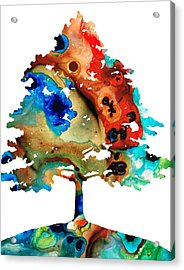 All Seasons Tree 3 - Colorful Landscape Print Acrylic Print by Sharon Cummings