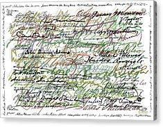 All The Presidents Signatures Green Sepia Acrylic Print by Tony Rubino