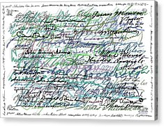 All The Presidents Signatures Teal Blue Acrylic Print by Tony Rubino