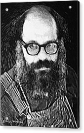 1950s Portraits Acrylic Print featuring the digital art Allen Ginsberg by Taylan Apukovska