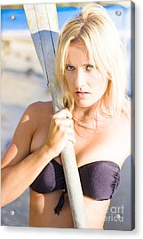 Alluring Blonde Rower Acrylic Print by Jorgo Photography - Wall Art Gallery