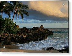 Aloha Naau Sunset Paako Beach Honuaula Makena Maui Hawaii Acrylic Print by Sharon Mau