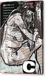 Alphabet Nude C Acrylic Print by Joanne Claxton