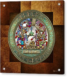 Altar 5 From Tikal - Mayan Nobles Performing A Ritual - On Brown Leather  Acrylic Print by Serge Averbukh