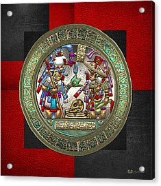 Altar 5 From Tikal - Mayan Nobles Performing Reburial Ritual - On Black And Red Leather Acrylic Print by Serge Averbukh