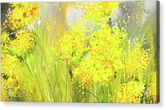 Alyssum Basket Of Gold - Yellow And Gray Abstract Acrylic Print by Lourry Legarde