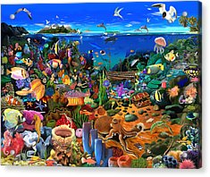 Amazing Coral Reef Acrylic Print by Gerald Newton