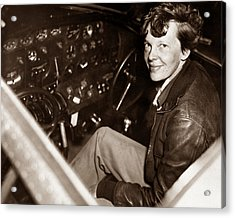 Amelia Earhart Sitting In Airplane Cockpit Acrylic Print by War Is Hell Store
