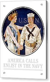 America Calls Enlist In The Navy Acrylic Print by War Is Hell Store