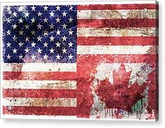 American Canadian Tattered Flag Acrylic Print by Az Jackson